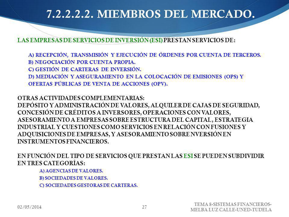 7.2.2.2.2. MIEMBROS DEL MERCADO.LAS EMPRESAS DE SERVICIOS DE INVERSIÓN (ESI) PRESTAN SERVICIOS DE: