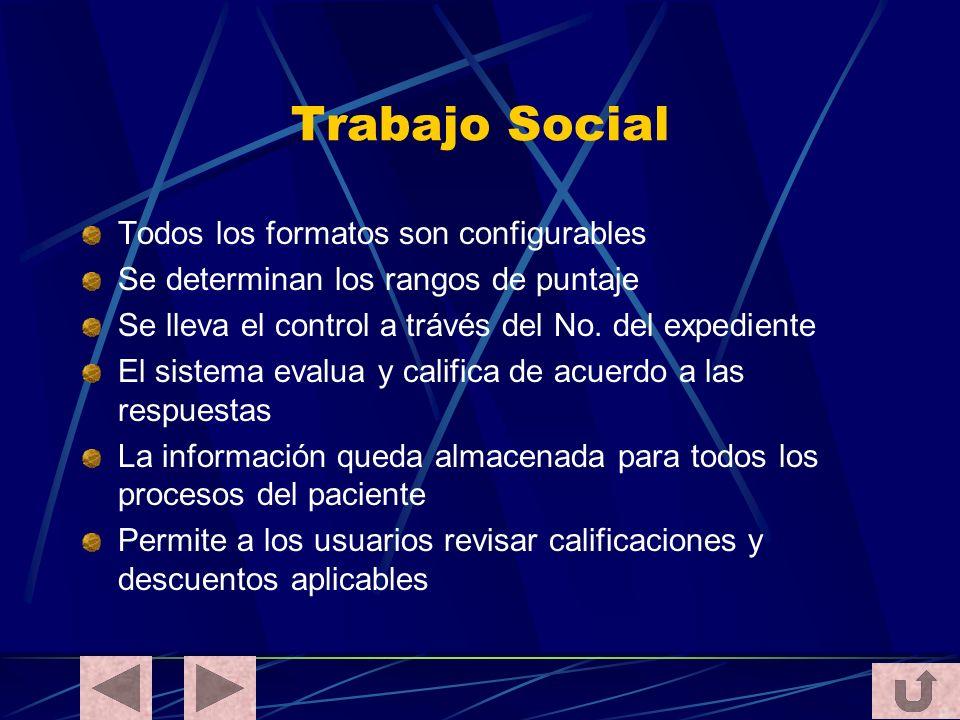 Trabajo Social Todos los formatos son configurables