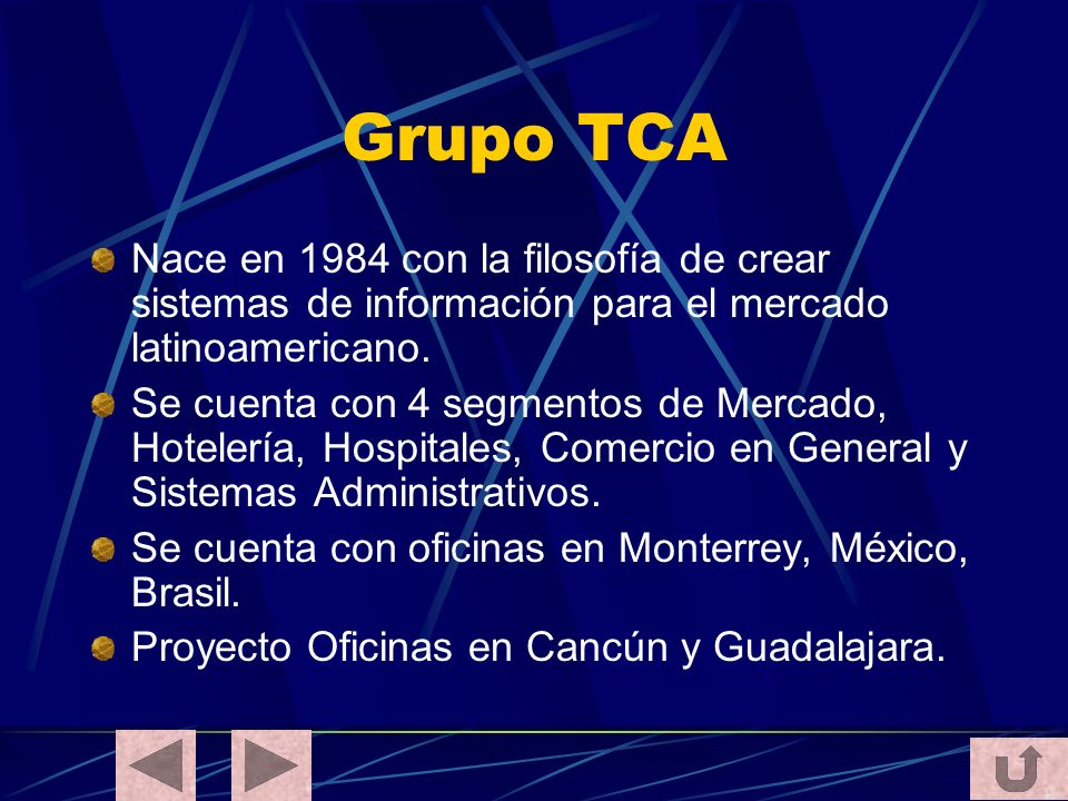 Grupo TCA Nace en 1984 con la filosofía de crear sistemas de información para el mercado latinoamericano.