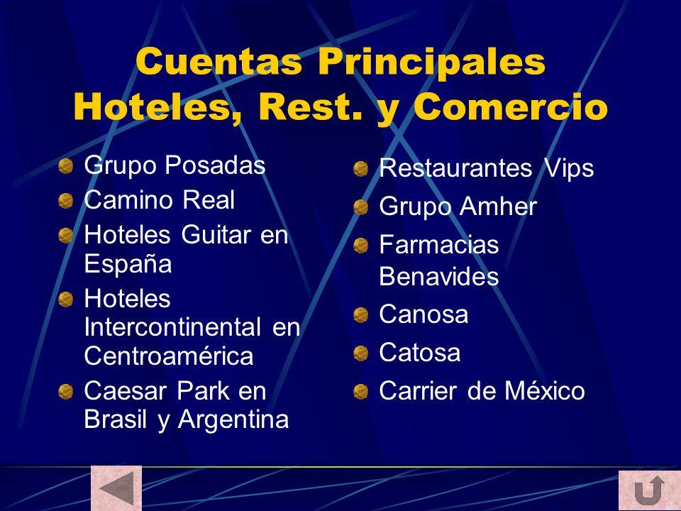 Cuentas Principales Hoteles, Rest. y Comercio