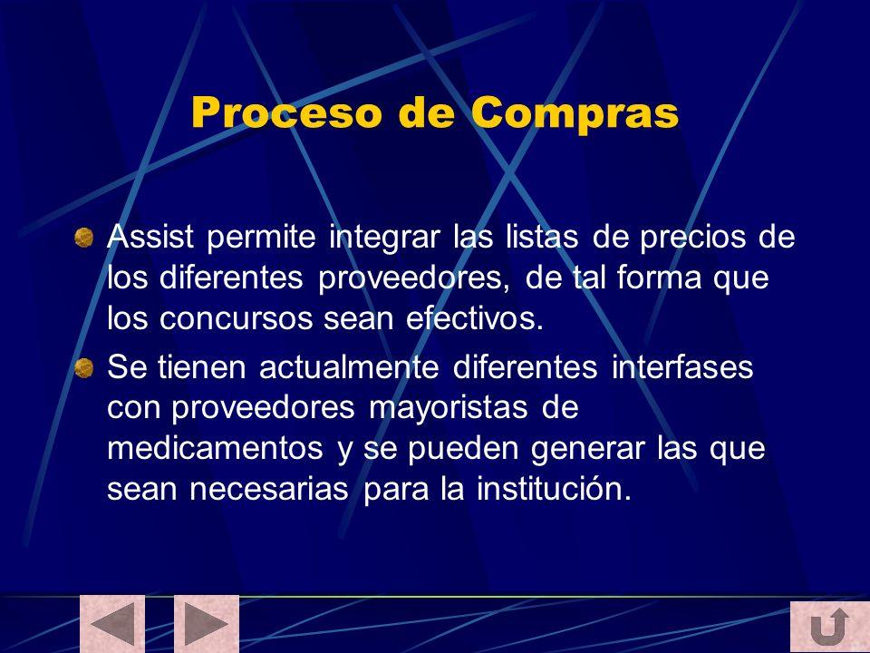 Proceso de Compras Assist permite integrar las listas de precios de los diferentes proveedores, de tal forma que los concursos sean efectivos.