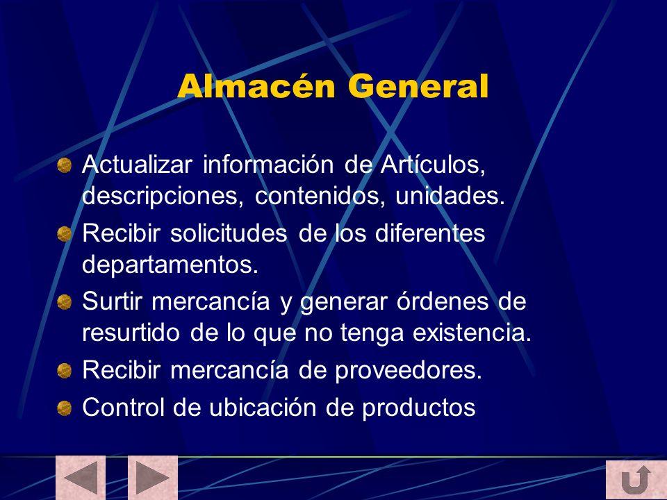 Almacén General Actualizar información de Artículos, descripciones, contenidos, unidades. Recibir solicitudes de los diferentes departamentos.