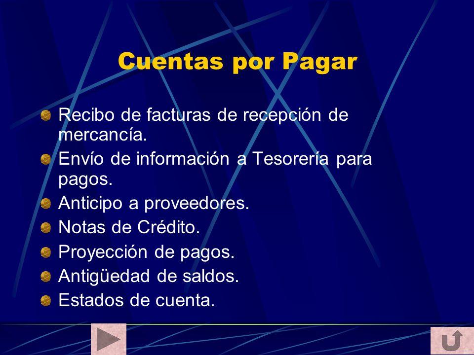 Cuentas por Pagar Recibo de facturas de recepción de mercancía.