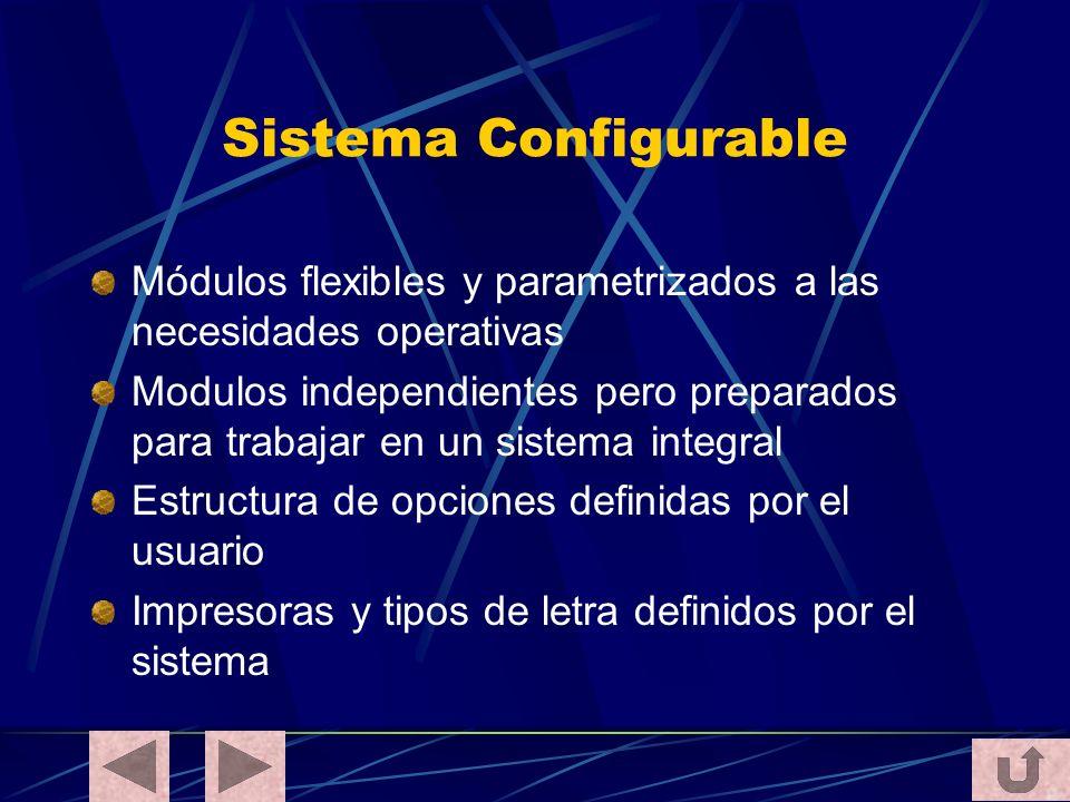 Sistema Configurable Módulos flexibles y parametrizados a las necesidades operativas.