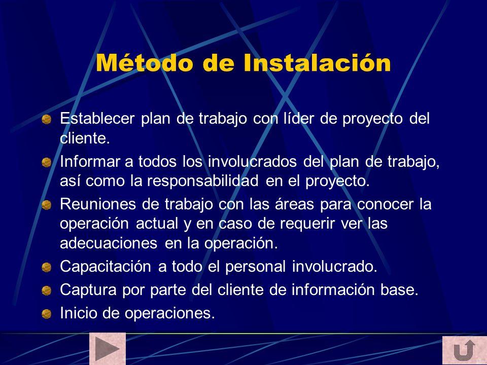 Método de Instalación Establecer plan de trabajo con líder de proyecto del cliente.