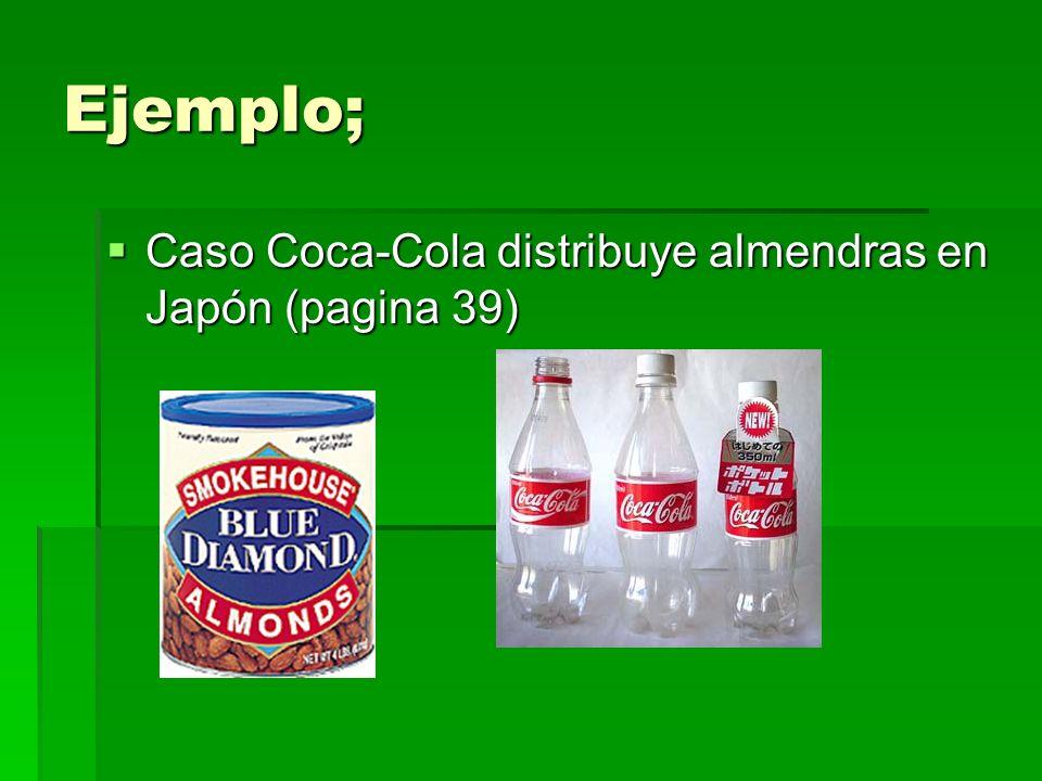 Ejemplo; Caso Coca-Cola distribuye almendras en Japón (pagina 39)