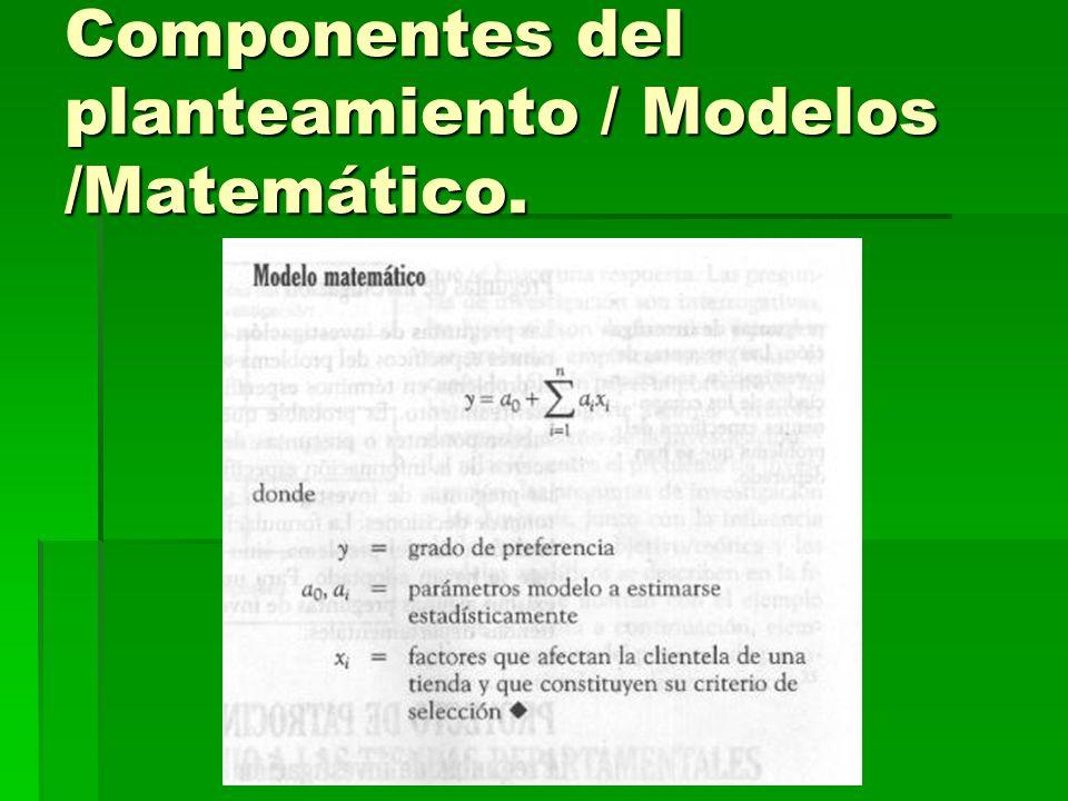Componentes del planteamiento / Modelos /Matemático.