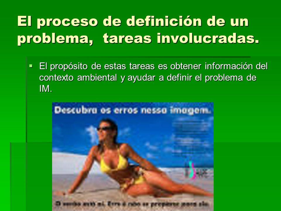 El proceso de definición de un problema, tareas involucradas.