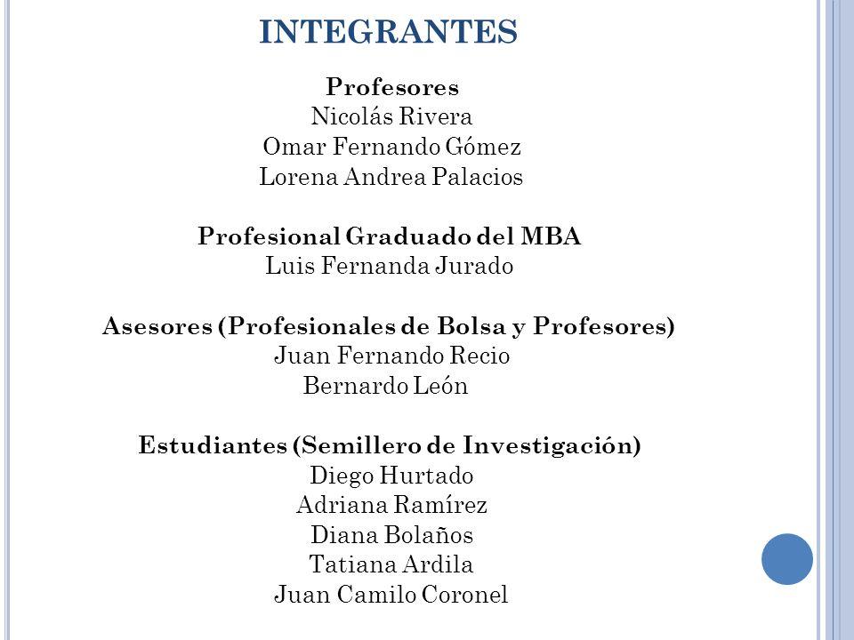 INTEGRANTES Profesores Nicolás Rivera Omar Fernando Gómez