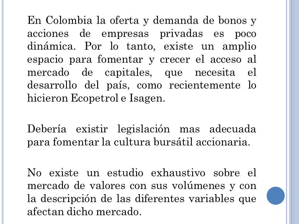 En Colombia la oferta y demanda de bonos y acciones de empresas privadas es poco dinámica. Por lo tanto, existe un amplio espacio para fomentar y crecer el acceso al mercado de capitales, que necesita el desarrollo del país, como recientemente lo hicieron Ecopetrol e Isagen.