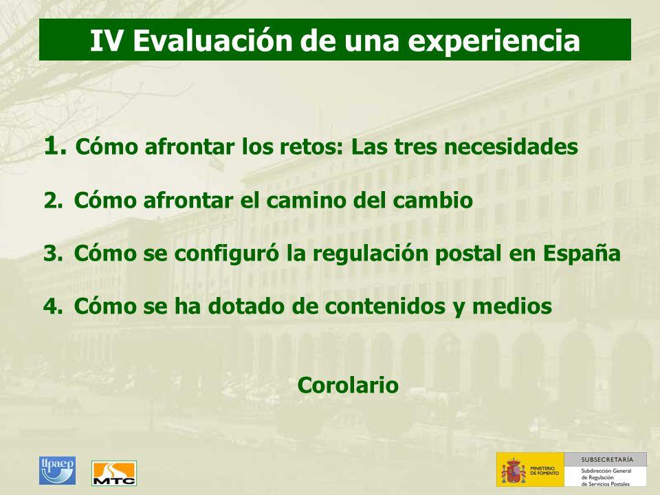 IV Evaluación de una experiencia