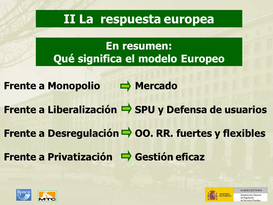 II La respuesta europea Qué significa el modelo Europeo