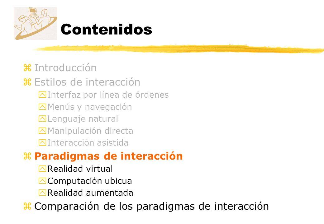 Contenidos Introducción Estilos de interacción