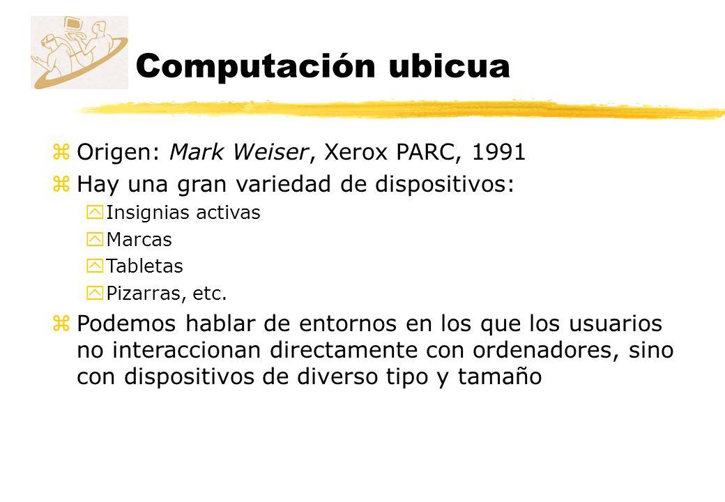 Computación ubicua Origen: Mark Weiser, Xerox PARC, 1991