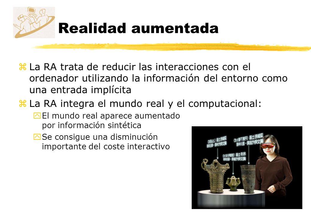 Realidad aumentada La RA trata de reducir las interacciones con el ordenador utilizando la información del entorno como una entrada implícita.