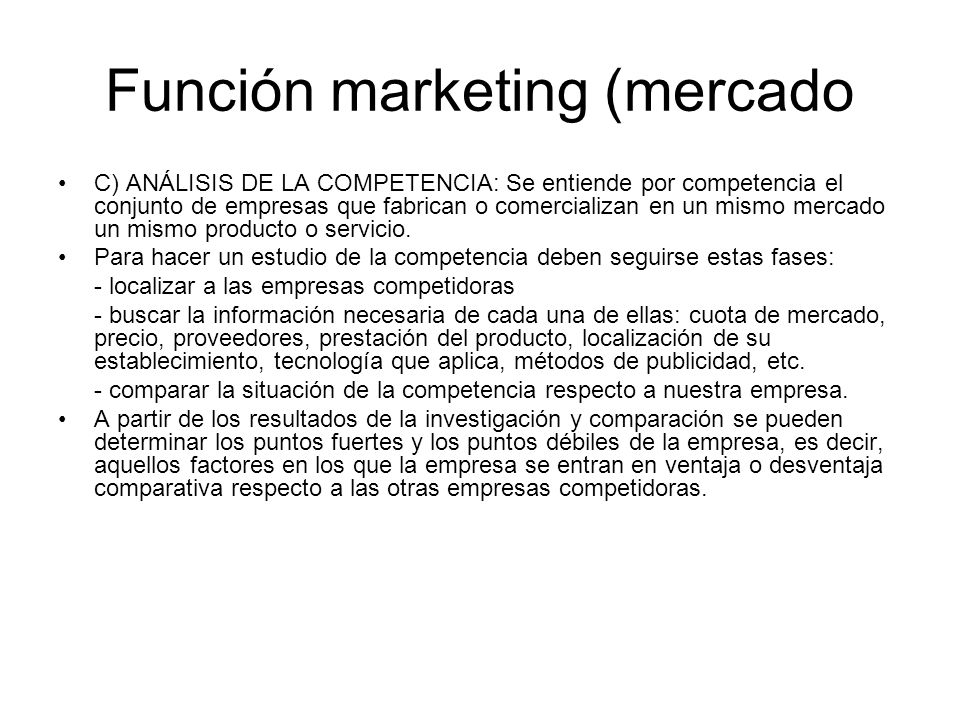 Función marketing (mercado