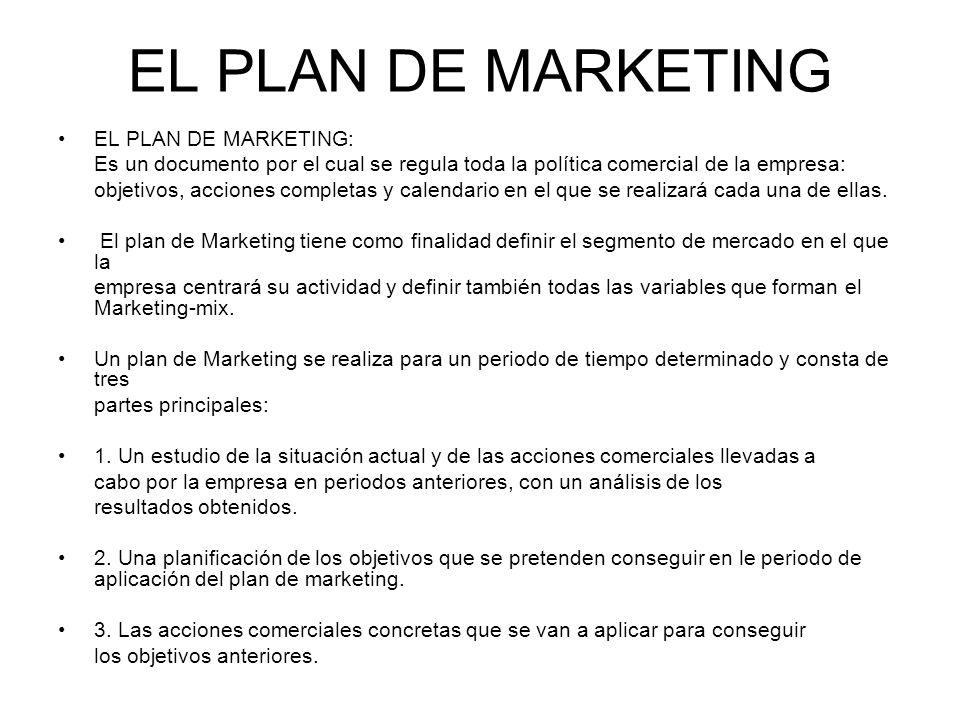 EL PLAN DE MARKETING EL PLAN DE MARKETING: