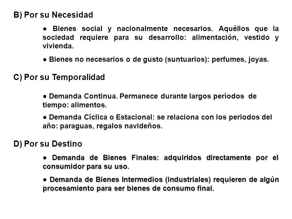B) Por su Necesidad C) Por su Temporalidad D) Por su Destino