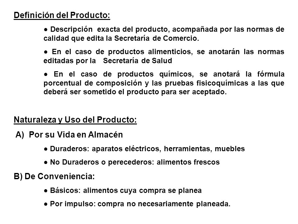 Definición del Producto: