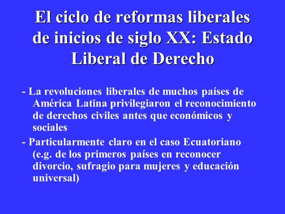 El ciclo de reformas liberales de inicios de siglo XX: Estado Liberal de Derecho