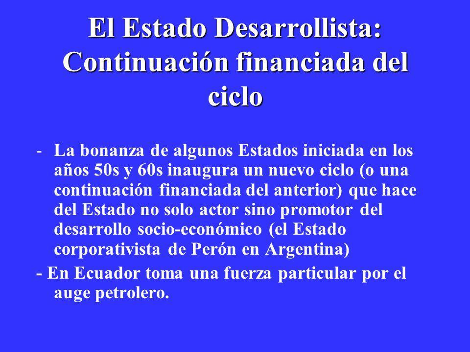 El Estado Desarrollista: Continuación financiada del ciclo
