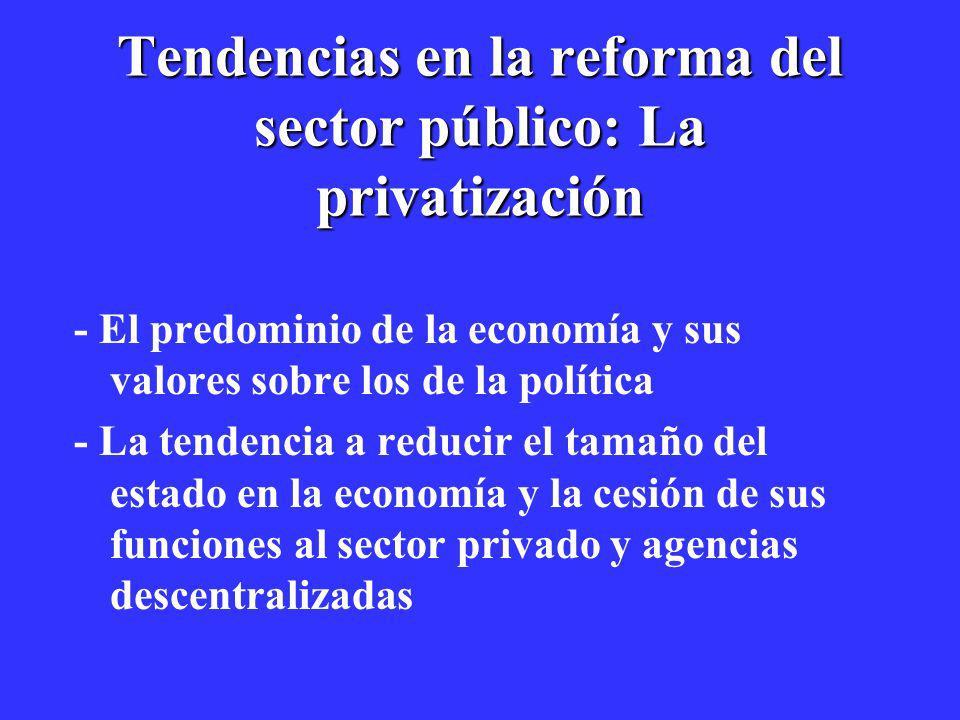 Tendencias en la reforma del sector público: La privatización