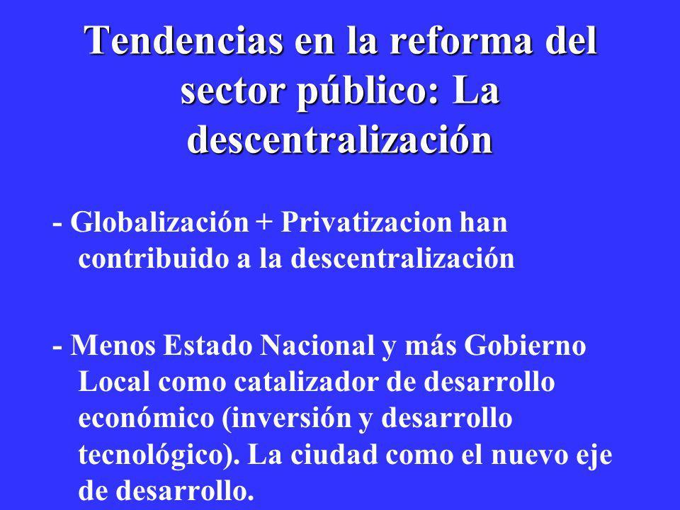 Tendencias en la reforma del sector público: La descentralización