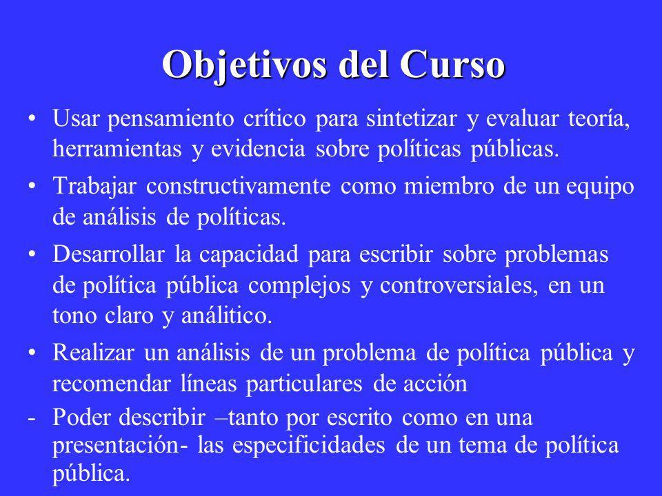 Objetivos del Curso Usar pensamiento crítico para sintetizar y evaluar teoría, herramientas y evidencia sobre políticas públicas.