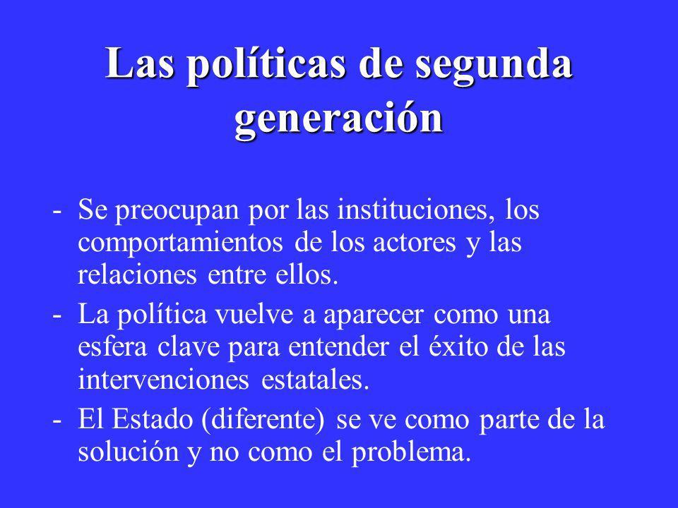 Las políticas de segunda generación