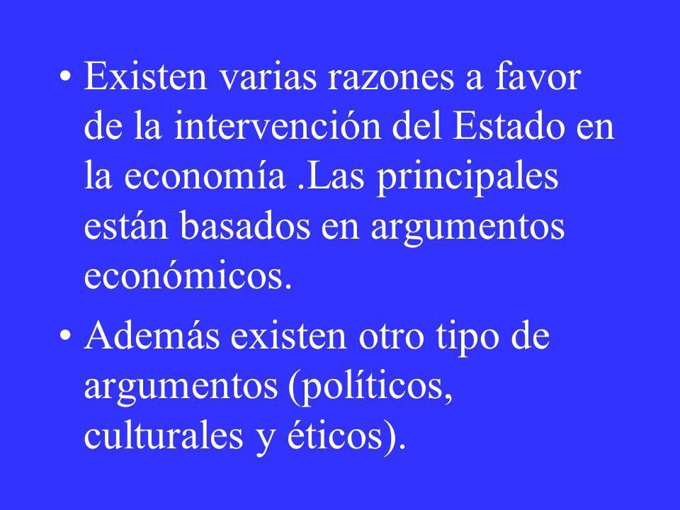 Existen varias razones a favor de la intervención del Estado en la economía .Las principales están basados en argumentos económicos.