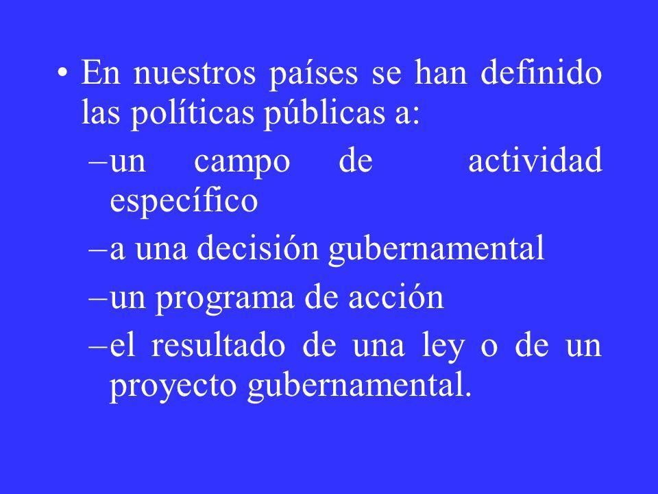 En nuestros países se han definido las políticas públicas a: