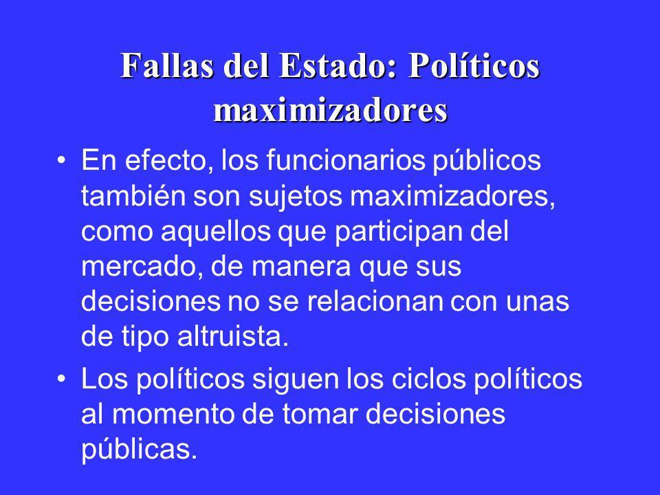 Fallas del Estado: Políticos maximizadores