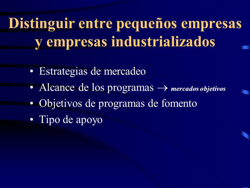 Distinguir entre pequeños empresas y empresas industrializados