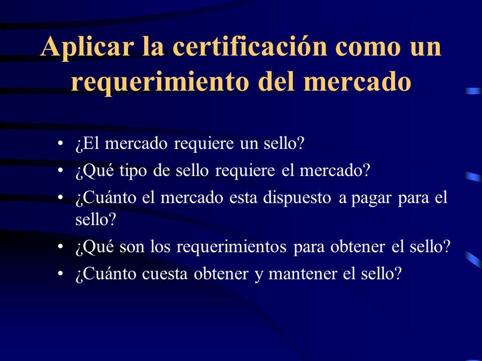 Aplicar la certificación como un requerimiento del mercado