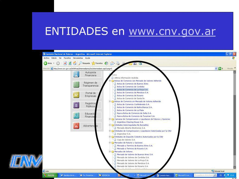 ENTIDADES en www.cnv.gov.ar