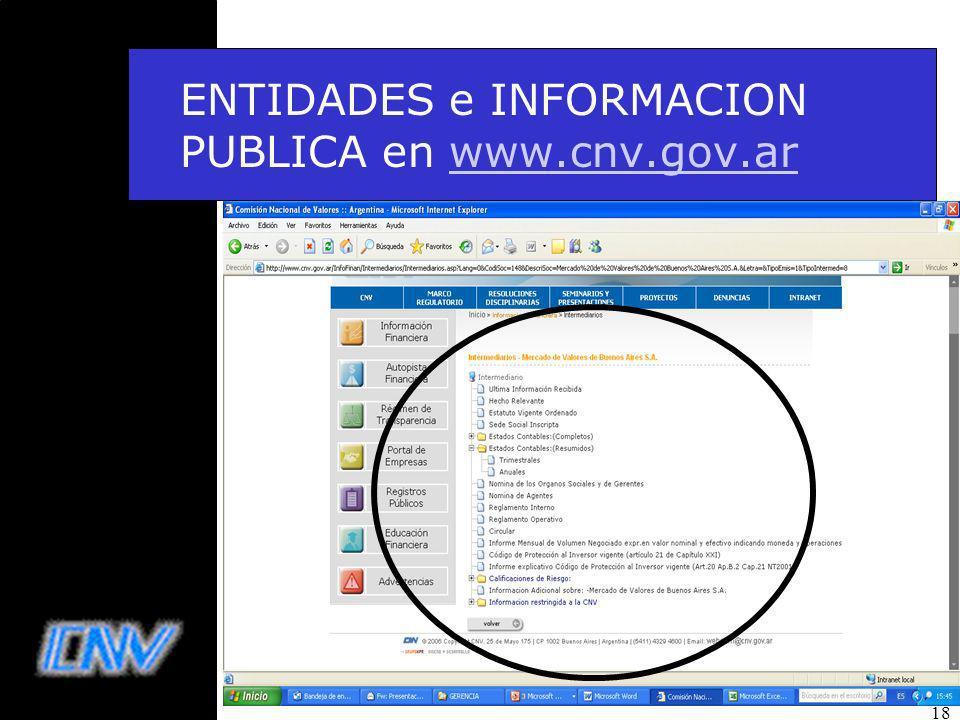 ENTIDADES e INFORMACION PUBLICA en www.cnv.gov.ar
