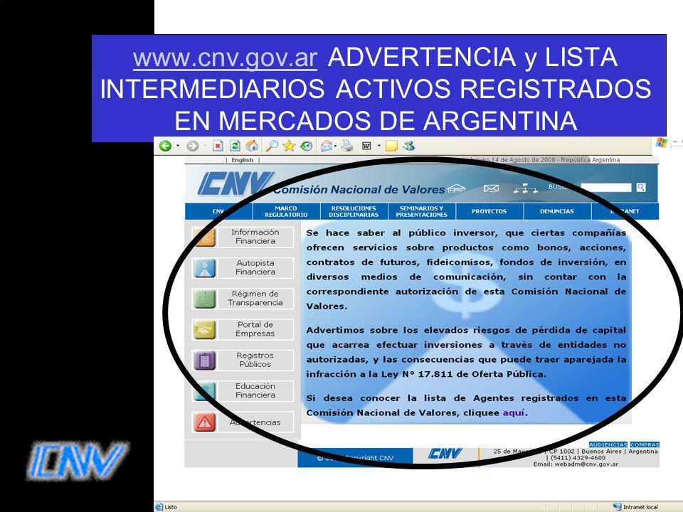 www.cnv.gov.ar ADVERTENCIA y LISTA INTERMEDIARIOS ACTIVOS REGISTRADOS EN MERCADOS DE ARGENTINA