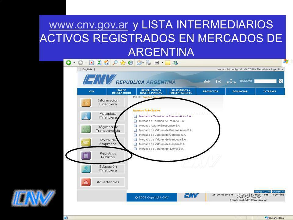 www.cnv.gov.ar y LISTA INTERMEDIARIOS ACTIVOS REGISTRADOS EN MERCADOS DE ARGENTINA