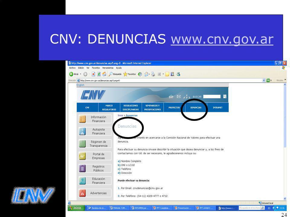 CNV: DENUNCIAS www.cnv.gov.ar