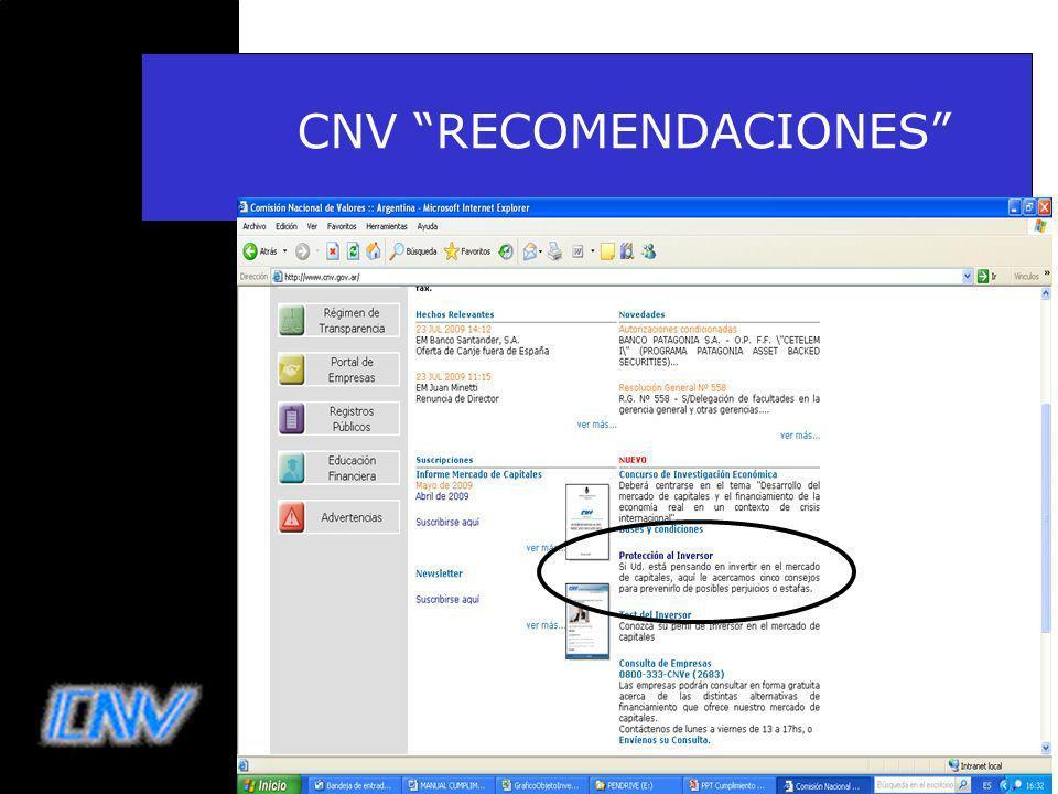 CNV RECOMENDACIONES