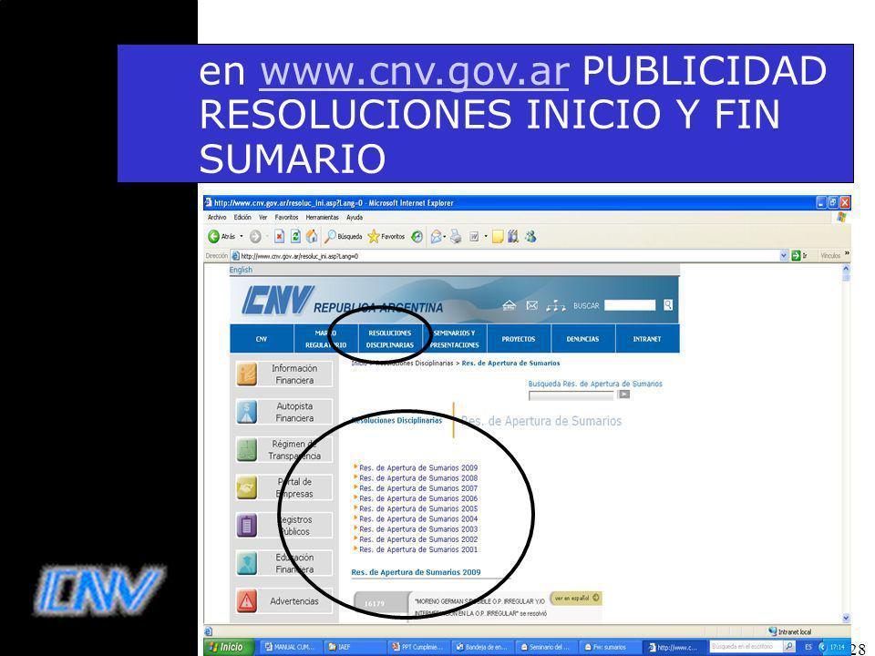 en www.cnv.gov.ar PUBLICIDAD RESOLUCIONES INICIO Y FIN SUMARIO