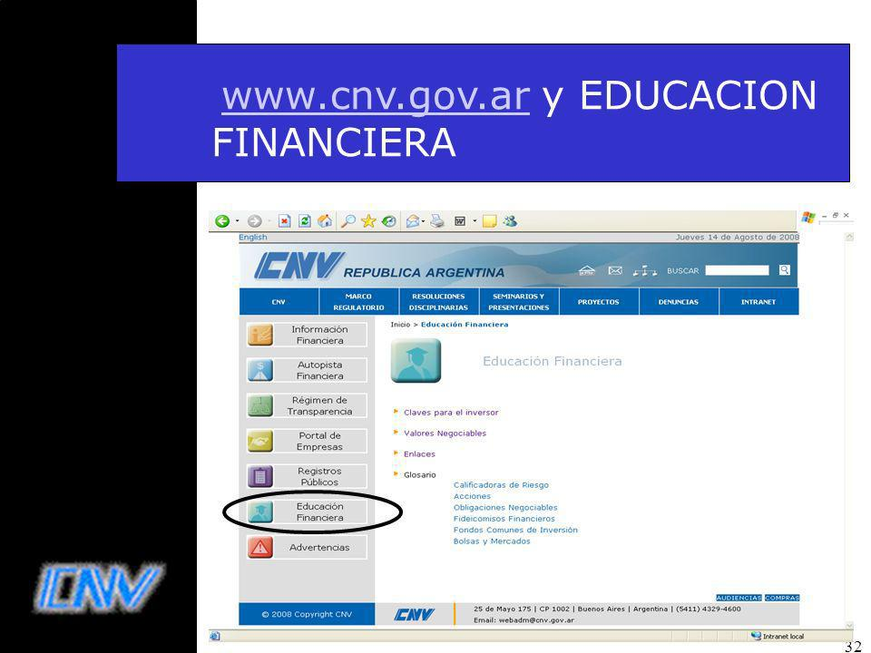 www.cnv.gov.ar y EDUCACION FINANCIERA
