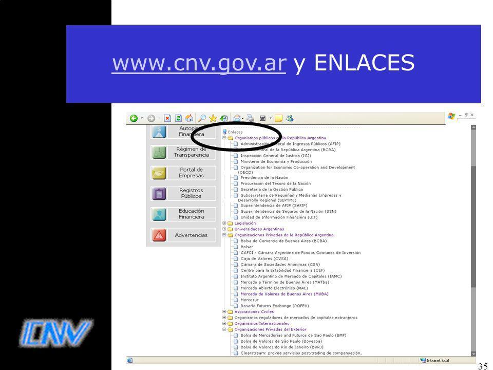 www.cnv.gov.ar y ENLACES 35