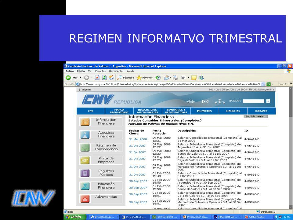 REGIMEN INFORMATVO TRIMESTRAL