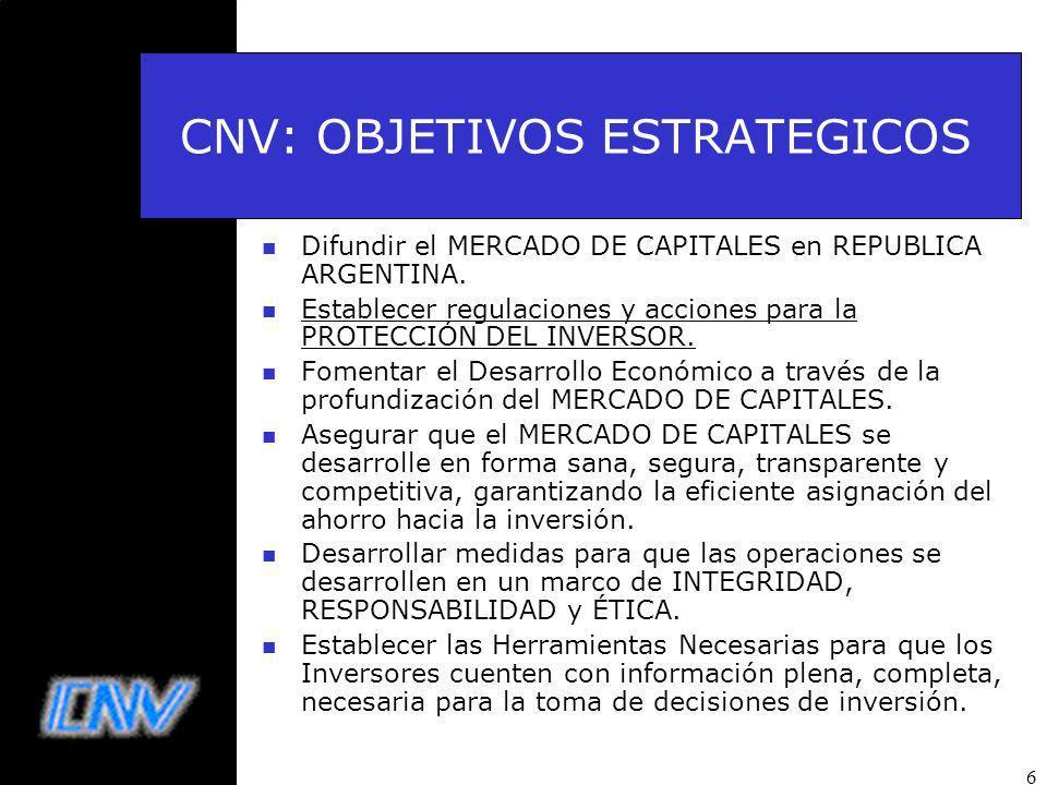 CNV: OBJETIVOS ESTRATEGICOS