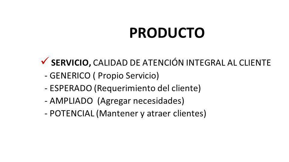 PRODUCTO SERVICIO, CALIDAD DE ATENCIÓN INTEGRAL AL CLIENTE