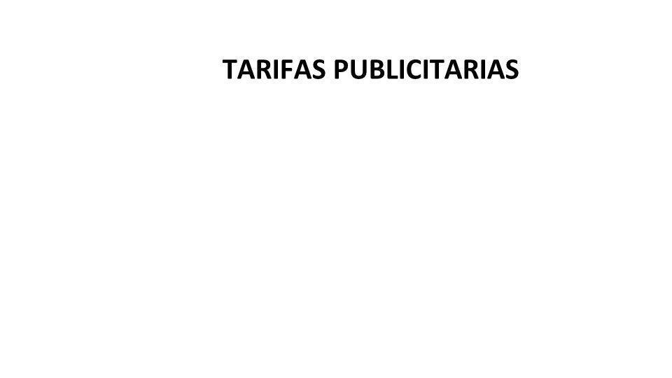 TARIFAS PUBLICITARIAS