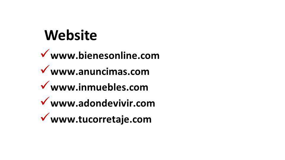 Website www.bienesonline.com www.anuncimas.com www.inmuebles.com