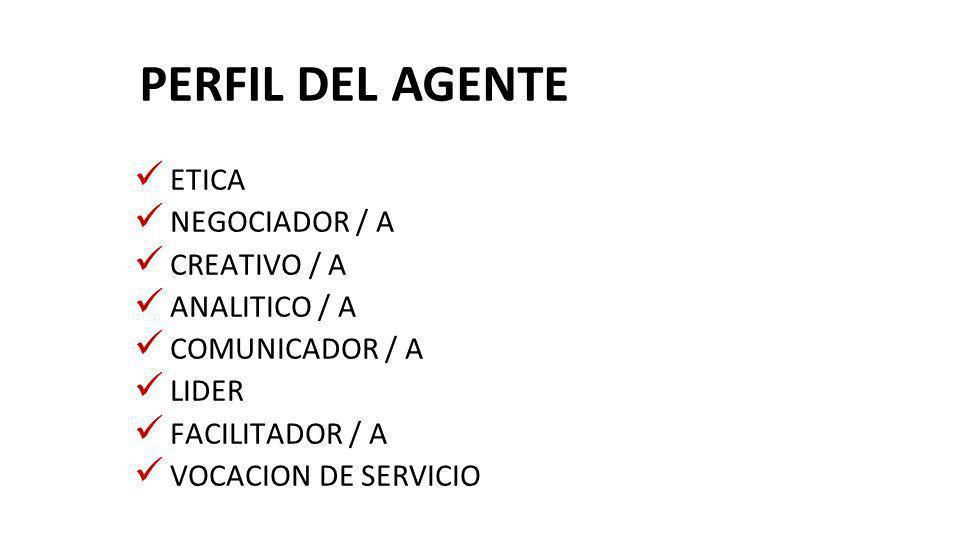 PERFIL DEL AGENTE ETICA NEGOCIADOR / A CREATIVO / A ANALITICO / A