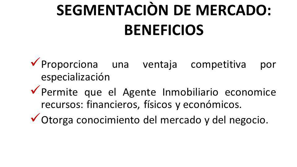 SEGMENTACIÒN DE MERCADO: BENEFICIOS